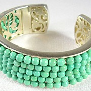 SALE Unique Artisan Crafted Turquoise Beads and Filigree Cuff Bracelet in Sterling Silver –