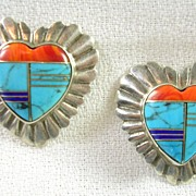 SALE Handcrafted Turquoise Coral Lapis Heart Pierced Earrings in Sterling Silver