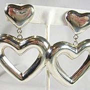 SALE Large Vintage Sterling Silver Heart Clip Earrings