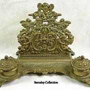 SALE Vintage Brass Inkwell Desk Organizer