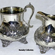 SALE Silver Plated Repousse Sucrier/Sugar and Cream Jug