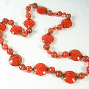 SALE Vintage Murano Red Blown Glass Long Necklace from Italy