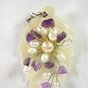 SALE Mother of Pearl Amethyst Cultured Pearl Pendant in 18K White Gold