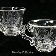 SALE Etched Crystal Glass Sugar Bowl and Creamer Set
