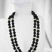 SALE PENDING Vintage Onyx Sterling Silver Double Strand Necklace – Stunning!