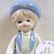 Signed Enesco Porcelain Child Artist with Cat