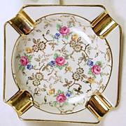 SALE Signed HANJEL Bavarian Porcelain Gold Leaf Rose Pattern Ashtray