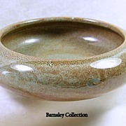 SALE Weller Art Moss Green and Sandstone Colored Pottery Bowl