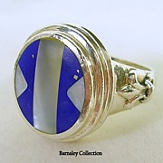 Vintage Sterling Silver, Lapis, and Mother of Pearl Ring – Exquisite!