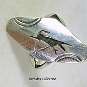 Vintage Artisan Crafted Southwestern Sterling Silver and Enamel Roadrunner Ring
