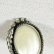 SALE Vintage Old Pawn Navajo Ring with Mother of Pearl in Sterling Silver
