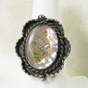 Vintage Abalone Sterling Silver Ring