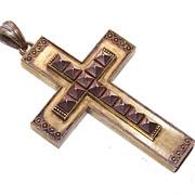 Massive ANTIQUE VICTORIAN 14K Gold Crusader Cross - Etruscan Design!