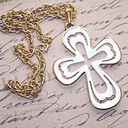 1960s COSTUME - Crown Trifari Gold Tone/White Enamel Cross Pendant and Chain!