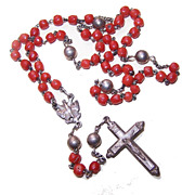 ANTIQUE VICTORIAN Silver & Coral Rosary - Saint Esprit Center & Original Case!