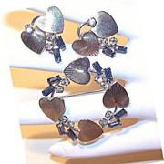 CARL ART 1950s Sterling Silver & Rhinestone Pin/Earrings Set!
