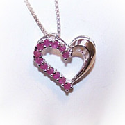SOLD Vintage STERLING SILVER & Ruby Heart Pendant!