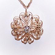 ANTIQUE VICTORIAN 14K Gold, .50CT Diamond & Natural Pearl Pin/Pendant Combo!