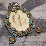 SOLD C.1900 FRENCH Jewelled Gilt Brass Picture Frame with Easel! - Red Tag Sale Item