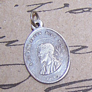 Antique FRENCH SILVERPLATE Religious Medal - Saint Joseph!