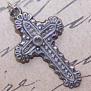 C.1900 FRENCH SILVER Religious Cross Pendant with Stanhope!