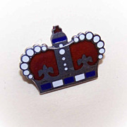1960s STERLING SILVER & Enamel Pin/Brooch - Red/White/Blue Crown!