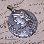 Huge C.1905 French Silverplate JOAN OF ARC Slider Pendant!