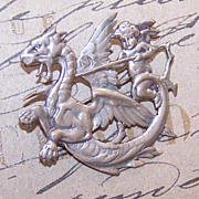 Stunning European 800 SILVER Pin/Brooch - Cupid on Dragon!