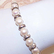 Beautiful STERLING SILVER & Freshwater Pearl Link Bracelet!