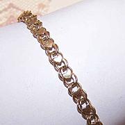 Vintage STERLING SILVER Vermeil Link Bracelet - Heart Top!