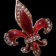 SOLD ANTIQUE VICTORIAN 14K Gold, Enamel & Natural Pearl Watch Pin/Brooch - Fleur de Lis!