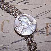 Edwardian FRENCH SILVERPLATE Necklace Latch - Joan of Arc Front!