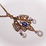 ANTIQUE EDWARDIAN 14K Gold, .40CT Sapphire & Natural Pearl Lavaliere with Original Chain!