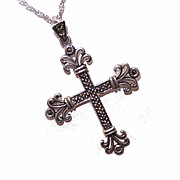 Vintage STERLING SILVER & Marcasite Cross Pendant and Chain!