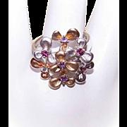 Vintage STERLING SILVER Vermeil & Gemstone Fashion Ring - Florals!