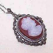 Vintage STERLING SILVER, Marcasite & Hardstone Cameo Pendant Necklace!