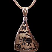 African 9K Gold Pendant & Chain - Tribal Elephant Glyphs!