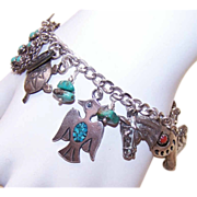 Vintage Western-Inspired STERLING SILVER Charm Bracelet with 17 Charms