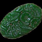 LARGE 1940s Carved Green Bakelite Pin/Brooch!