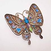 SALE Vintage CHINA SILVER Vermeil & Enamel Butterfly Pin/Brooch!