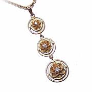 ANTIQUE EDWARDIAN 10K Gold & Diamond 'Past, Present, Future' Lavaliere!