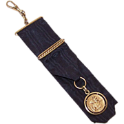 C.1910 FRENCH Gold Filled Watch Fob Ribbon with St. Christopher Medal*