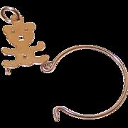 Vintage 14K Gold Charm Holder - Teddy Bear Top!
