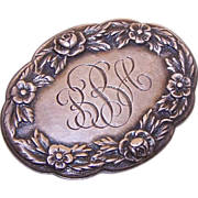 *S. KIRK & SON Sterling Silver Oval Floral Pin/Brooch with Initials - BBA*
