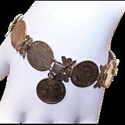 Interesting C.1950 COIN SILVER Vermeil Link Bracelet!