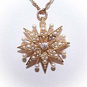 ANTIQUE EDWARDIAN 14K Gold, .12CT Diamond & Natural Pearl Pin/Pendant by Krementz!