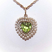 ANTIQUE VICTORIAN 14K Gold, Natural Pearl & Peridot Heart-Shaped Pendant/Charm!