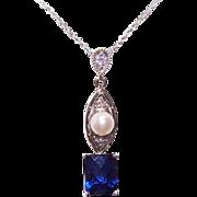 SALE Vintage 18K Gold, Diamond, Cultured Pearl & Blue Spinel Lavaliere Necklace