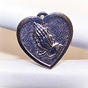 Vintage STERLING SILVER Religious Charm - Praying Hands in Heart!