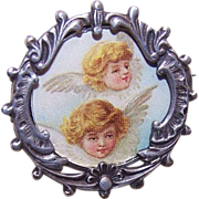 C.1900 French SILVERPLATE Metal Picture Pin/Brooch!